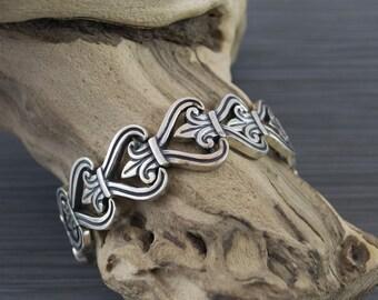 Pedro Castillo Vintage Sterling Silver Bracelet Heart Motif
