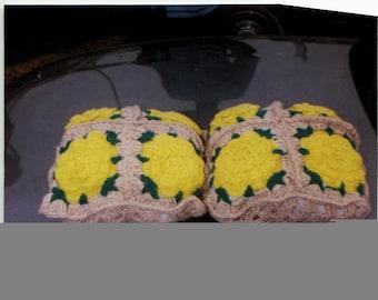 Crocheted rose pillows