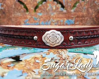 """Horse Hair and 1-1/4"""" Stamped Leather Hatband - Braided Horsehair"""