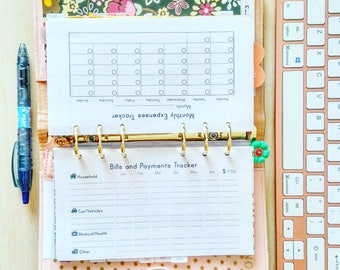 Bill Organizer Daily Expenses Tracker Personal Filoxax Inserts Budget Planner Bill Payment Checklist Printable Bill Pay INSTANT DOWNLOAD PDF