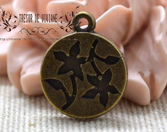 Set of 10 QZW053 medallion of flowers, charms, Bronze