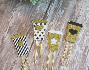 Glitter Coffee Cup Paperclip