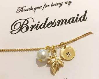 gold bridesmaid bracelet, Gold leaf bracelet, gold Initial bracelet, Bridesmaid gift, Personalised jewellery, Bridal party gift, bridesmaid