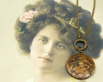 Art Nouveau BUTTON necklace, VFrench lady with rose on brass. Button jewellery. Present, gift.