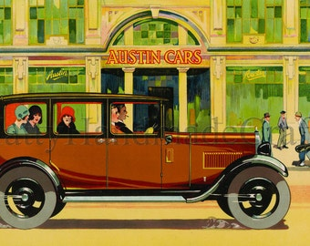1930s Austin Cars Vintage Advertising Print