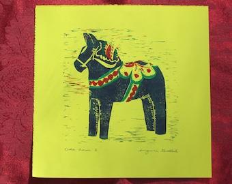 """Dala horse block print, """"Dala horse 2"""" hand-pulled print, Dala horse linocut"""