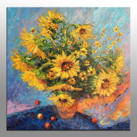 Oil Painting Original Sunflowers Painting Modern Wall Art