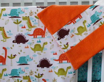 Dinosaur Crib Blanket/Dinosaur Toddler Bedding/Orange Toddler Bedding/ Aqua Baby Bedding/Dinosaur Crib Bedding/Dinosaur Pillow/Crib Bedding/