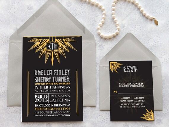 Was Ist Deco deco noir starburst deco printable wedding invitations