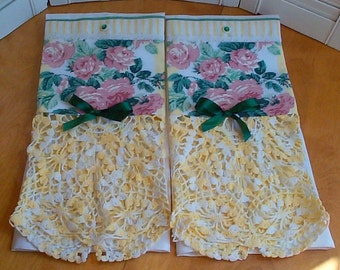 HM Vintage Damask guest Towels - Yellows - Roses - Vintage Crochet - country Cottage