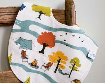 Camping Toddler Bib; Cottage, Wilderness Organic Cotton Baby Feeding Bib; Baby Shower Gift, Bib 6 months to 2T, Handmade in Canada, Camp Out