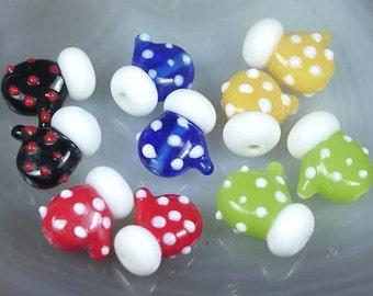 10 Lampwork Handmade Glass Lovely Glove Beads Christmas 16mm (L420)