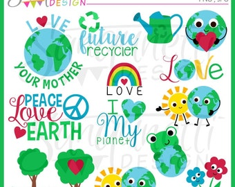 Earth Day Clipart, earth clipart, recycle clipart, environmental clipart, nature clipart, peace clipart, instant download