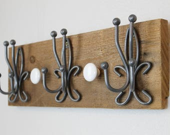 Wall Hanging Necklace Holder | Hanging Jewelry Organizer | Wooden Coat Rack | Farmhouse Style Necklace Holder | Wall Mount Jewelry Holder