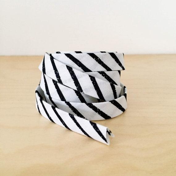 "Bias Tape in Sarah Golden's Around Town Stripes in Panda 1/2"" double-fold cotton binding- 3 yard roll"