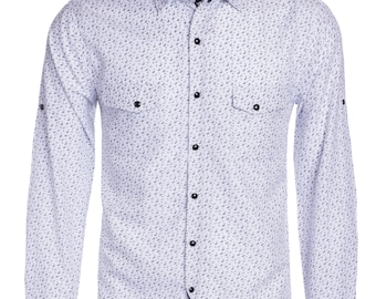 New Mens ID Long Sleeve Button Down Dress Shirt White With Black Grey Paisley Polka Dot Pattern Front Pockets Snap Buttons ID-1208