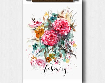 Watercolor Floral,FEBRUARY Month, Calendar art, Pregnancy Announcement, Baby shower,Save The date,Perpetual Month Calendar, Wedding keepsake