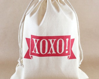 XOXO Cotton Gift Bags, Reusable Drawstring Bags, Medium Size, Screenprinted by Hand, larger quantities available