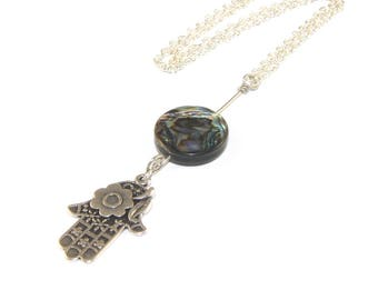Hamsa Hand Natural Paua Shell Pendant Necklace, Silver Plated or Stainless Steel Chain
