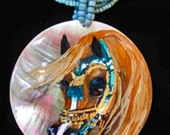 Arabian horse art hand painted necklace Chestnut shell