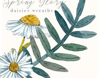 SPRING GLORY, daisy cliparts, flower wreath, daisies wreath, watercolor clipart, wedding clipart, watercolor daisy, daisies clipart set