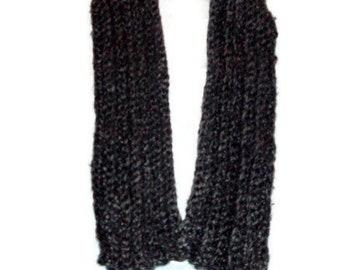 Thick Chunky Scarf Unisex Scarf Soft Scarf Gray Scarf Black Scarf Crochet Winter Scarf Men Scarf Womens Scarf