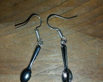 Mini silver spoon earrings