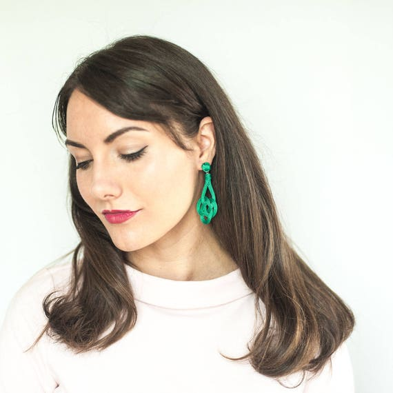 Trinity Knot Earrings / Sz Small / Macrame Knot Nautical Preppy Fashion Winter Chic Bridesmaids Jewelry Girlfriend Gift Fall Gift Holiday