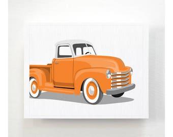 Boys art Vintage Truck wall art print- White Top - pick your colors - childrens transportation wall art