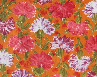 1960s Vintage Fabric - Floral Cotton Print - Magenta and Red Violet Flowers on Orange / 100% Cotton Yardage