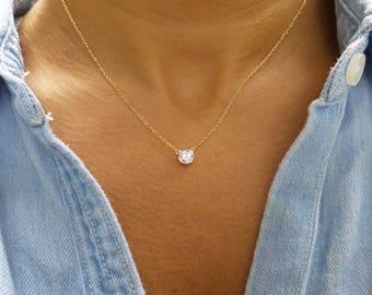 Diamond Solitaire Necklace / CZ Solitaire Pendant / Dainty Solitaire Necklace / Minimalist Necklace / Solitaire Bezel Pendant / Yellow Gold