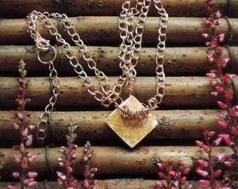 Square porcelain necklace - gold & white with hoop detail - rose gold chain