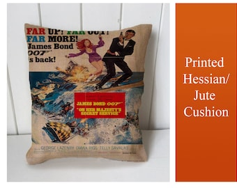 007 James Bond  - Cushion Fabric Panel Or Case or with Filling Rustic Natural Jute Burlap Hessian