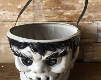 Vintage Trick or Treat Frankenstein Halloween Pail Adorable