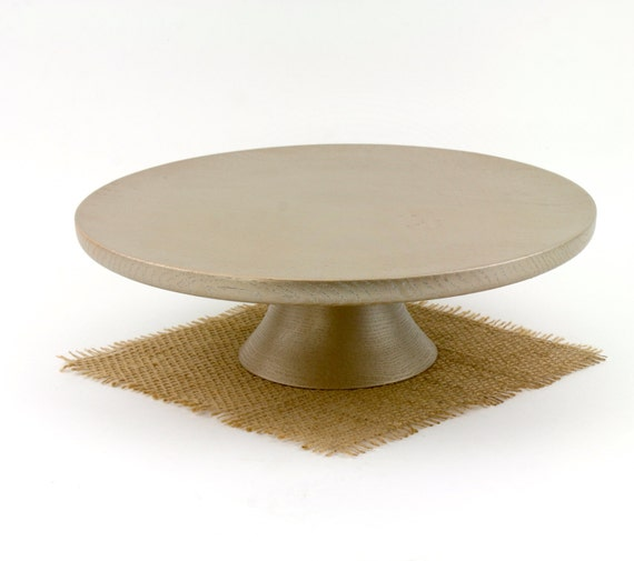 """11 1/2"""" Gold Wood Cake Stand Anniversary Cake Stand Cupcake stand Wood Pedestal Cake Plate"""