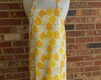Womens Full Apron, Lovely Lemon Apron, Kitchen Apron, Bib Apron, Pocket Apron, Yellow and White Apron