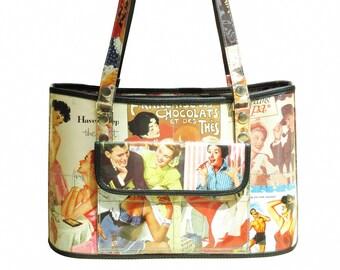 Handbag made using vintage ad prints, FREE SHIPPING, Eco friendly bag, Recycled vegan tote bag, upcycling by milo, naveh milo, cement sack