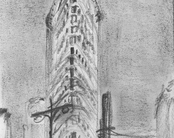 NYC Flatiron Building - print of original pencil drawing - archival quality paper - 8x10 inches