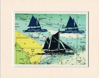 Linocut relief print, I saw three ships,limited edition original hand pulled print