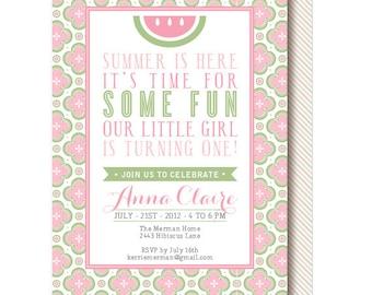 Summer Watermelon Birthday Invitations