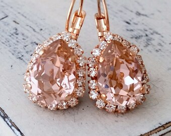 Morganite earrings,Blush earrings,Rose gold morganite bridal earrings,blush pink bridesmaid earrings,blush Drop earring,Swarovski earrings