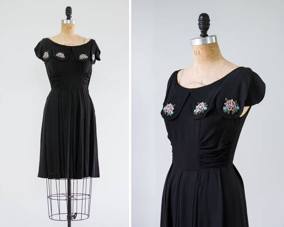 vintage 1940s crepe dress | 1940s womens black vintage party dress | 1940s day dress | 40s dress