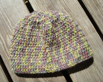 Washable Wool Blend Youth Crocheted Winter Beanie Hat - Harlequin 986