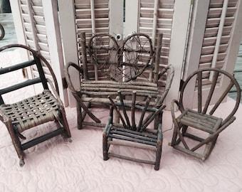 Genial Vintage Twig Furniture, Vintage Doll Furniture Lot, Grapevine Furniture