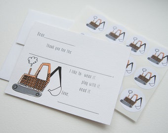 Excavator Fill in the Blank Thank You Note Stationery Set with Stickers