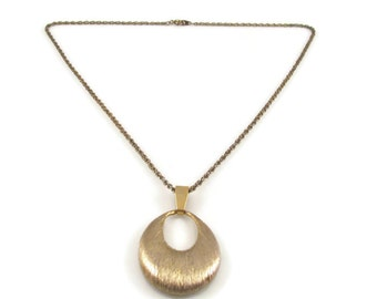 Brushed Gold Necklace Pendant Necklace Vintage Necklace Vintage Pendant Gold Pendant Statement Necklace Gift Idea Gift  For Her