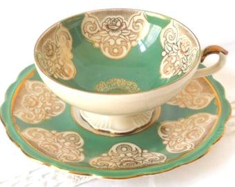 vintage tea cup tea cup and saucer german teacup retro green teacup Rheinpfalz green and gold tea cup 130