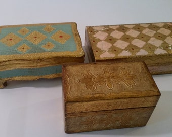 Vintage Florentine Box Lot of 3 Wood Treasure Trinket Boxes Gold Painted Decorative Boxes Playing Card Box Made in Florence, Italy 1970s