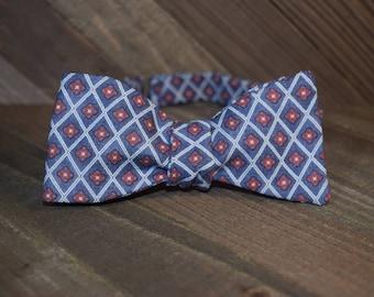 Blue Geometric Self Tie Bow Tie
