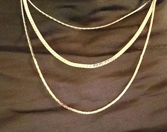 Vintage monet silver triple chain necklace